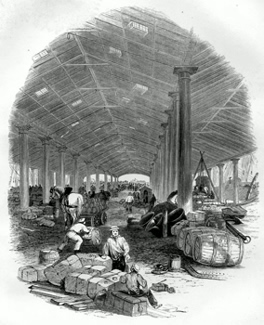 ANTIQUE PRINT: WHARF SHED OF THE TRAFALGAR DOCK.