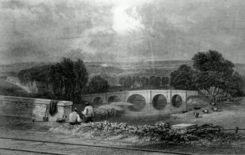 ANTIQUE PRINT: THE RAILWAY NEAR PENKRIDGE, TEDDESLEY HALL IN THE DISTANCE.