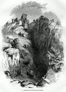 ANTIQUE PRINT: 5. – ENTRANCE TO THE PEAK CAVERN.