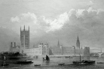 ANTIQUE PRINT: THE NEW PALACE OF WESTMINSTER.
