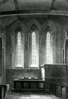 ANTIQUE PRINT: BARNWELL CHURCH, INTERIOR OF THE EAST END [CAMBRIDGE].