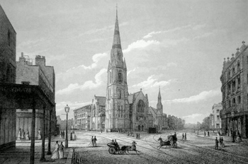 ANTIQUE PRINT: CHRIST CHURCH (PERPETUATION OF SURREY CHAPEL) WESTMINSTER BRIDGE ROAD.