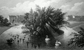 ANTIQUE PRINT: AN ISLAND ON THE LAKE & PART OF CORNWALL & CLARENCE TERRACE, REGENT'S PARK.