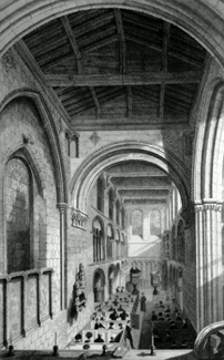 ANTIQUE PRINT: ST. BARTHOLOMEW'S THE GREAT. VIEW OF THE INTERIOR.