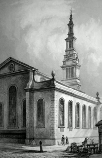 ANTIQUE PRINT: CHRIST CHURCH NEWGATE STREET.