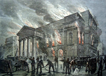 ANTIQUE PRINT: BURNING OF COVENT GARDEN THEATRE IN 1856.