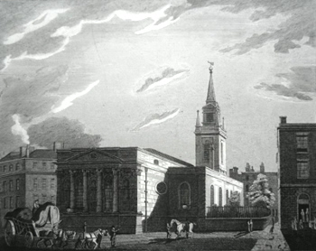 ANTIQUE PRINT: ST. LAWRENCE JEWRY.
