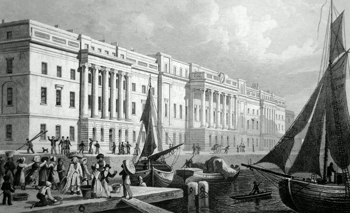 ANTIQUE PRINT: THE NEW CUSTOM HOUSE, FROM BILLINGSGATE.