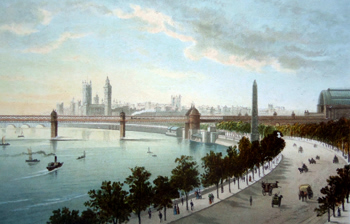 ANTIQUE PRINT: THE THAMES EMBANKMENT – LOOKING WEST.
