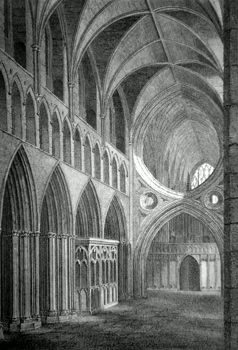 ANTIQUE PRINT: VIEW IN THE INTERIOR OF WELLS CATHEDRAL, LOOKING TOWARDS THE EAST, SOMERSETSHIRE.