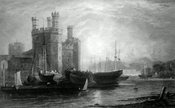 ANTIQUE PRINT: EAGLE TOWER, CAERNARVON CASTLE.