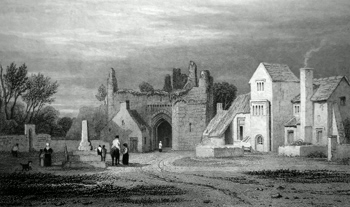 ANTIQUE PRINT: REMAINS OF LLANDAFF CASTLE, GLAMORGANSHIRE.