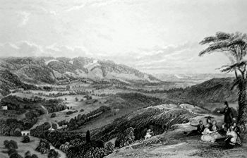 ANTIQUE PRINT: VIEW FROM BOX HILL, LOOKING TOWARDS NORBURY.