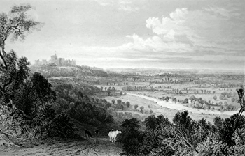 ANTIQUE PRINT: VIEW FROM COOPERS HILL. WITH RUNNEMEDE AND WINDSOR CASTLE.