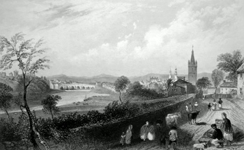ANTIQUE PRINT: THE TOWN OF DUMFRIES. (DUMFRIES-SHIRE).