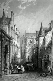 ANTIQUE PRINT: CASTLE WIND, MARS WORK AND CATHEDRAL. (STIRLING.)