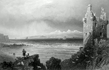 ANTIQUE PRINT: ISLE OF ARRAN FROM GREENAN CASTLE. (AYRSHIRE.)