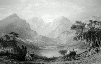 ANTIQUE PRINT: LOCH LOMOND. FROM THE ROAD ABOVE INVERSNAID MILL.