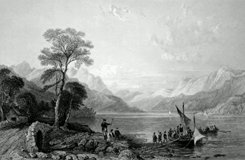 ANTIQUE PRINT: LOCH LOMOND FROM BELOW TARBET. (DUMBARTONSHIRE.)