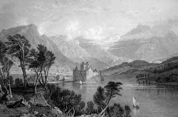 ANTIQUE PRINT: KILCHURN CASTLE, LOCH AWE. LOOKING TOWARDS DALMALLY. (ARGYLESHIRE.)
