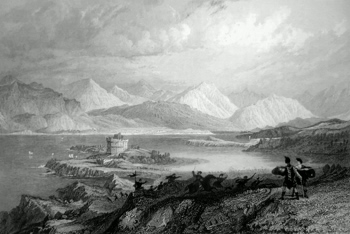 ANTIQUE PRINT: DUNSTAFFNAGE CASTLE AND ENTRANCE TO LOCH ETIVE. (WEST HIGHLANDS.)