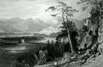 ANTIQUE PRINT: LOCH CRERAN, WITH BERCALDINE CASTLE. (ARGYLLSHIRE.)
