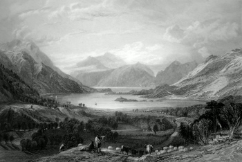 ANTIQUE PRINT: LOCH LEVEN. (LOOKING TOWARDS BALLAHUISH FERRY.)