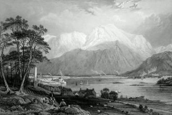 ANTIQUE PRINT: BEN NEVIS AND ENTRANCE TO THE CALEDONIAN CANAL. (INVERNESS-SHIRE.)