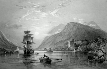 ANTIQUE PRINT: LOCH OICH, WITH INVERGARRY CASTLE. (INVERNESS-SHIRE.)
