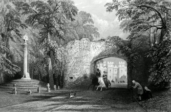 ANTIQUE PRINT: MARKET CROSS AND PALACE GATE, SCONE.
