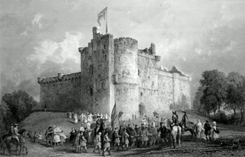 ANTIQUE PRINT: THE CASTLE OF DOUNE. (PRINCE CHARLES STUART. DISPOSAL OF HIS PRISONERS AFTER THE BATTLE OF FALKIRK, A.D. 1746.)
