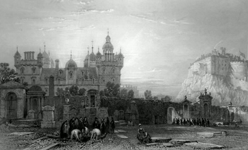 ANTIQUE PRINT: HERIOT'S HOSPITAL FROM THE GREY FRIARS CHURCH YARD. (EDINBURGH.)