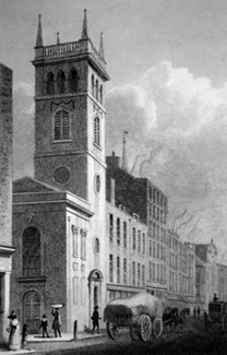 ANTIQUE PRINT: ALLHALLOWS, BREAD STREET.