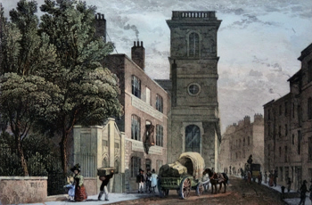 ANTIQUE PRINT: ALLHALLOWS CHURCH, UPPER THAMES STREET.