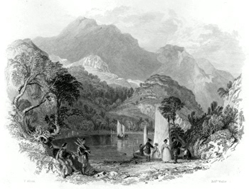 ANTIQUE PRINT: PASS OF THE TROSACHS LOCH KATRINE.