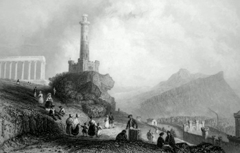 ANTIQUE PRINT: THE CALTON HILL. (WITH NELSON'S MONUMENT).