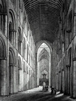 ANTIQUE PRINT: ELY CATHEDRAL. NAVE.