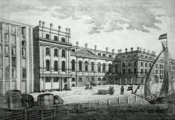 ANTIQUE PRINT: VIEW OF THE CUSTOM HOUSE.