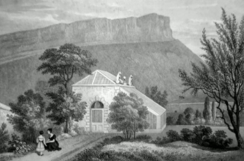 ANTIQUE PRINT: A SUMMER-HOUSE IN REGENT MURRAY'S GARDEN, WHERE THE UNION OF THE TWO KINGDOMS WAS SIGNED.