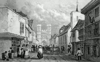 ANTIQUE PRINT: [CANTERBURY] CHURCH STREET, ST. PAUL'S CHURCH & THE CEMETERY GATE OF ST. AUGUSTINE'S MONASTERY.