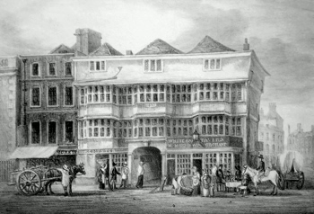 ANTIQUE PRINT: THE OLD WHITE HART TAVERN. BISHOPSGATE STREET.