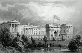 ANTIQUE PRINT: [BUCKINGHAM PALACE] THE QUEEN'S PALACE, PIMLICO. MIDDLESEX.