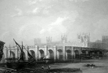 ANTIQUE PRINT: WESTMINSTER BRIDGE.