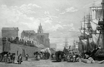 ANTIQUE PRINT: THE PRINCE'S DOCK, LIVERPOOL.