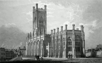 ANTIQUE PRINT: S. E. VIEW OF ST. LUKE'S CHURCH, LIVERPOOL.