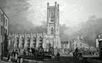 ANTIQUE PRINT: N. W. VIEW OF ST. LUKE'S CHURCH, LIVERPOOL. TO JOHN FOSTER, ESQ. ARCHITECT, THIS PLATE IS MOST RESPECTFULLY DEDICATED BY THE PUBLISHERS.