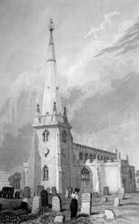 ANTIQUE PRINT: CHURCH OF ST. HELEN, SEPHTON, OR SEFTON.