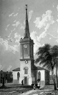 ANTIQUE PRINT: ST. MARY'S CHURCH, PRESCOT.