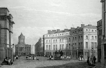 ANTIQUE PRINT: ST. GEORGE'S CRESCENT & CASTLE STREET [LIVERPOOL] .