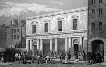 ANTIQUE PRINT: THE CORN EXCHANGE, BRUNSWICK STREET. THIS PLATE IS MOST RESPECTFULLY INSCRIBED TO THE CORN MERCHANTS OF LIVERPOOL BY THE PUBLISHERS.